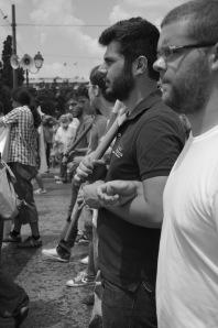Momento de la manifestación de ayer durante la jornada de huelga general. // BLANCA BLAY