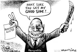 viñeta de Kenyatta presidente de Kenia