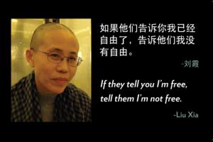 La artista china Liu Xia y uno de sus versos / PEN American Center for free expression and literature
