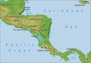 Mapa de Centroamérica, donde se encuentran los países en cuestión.