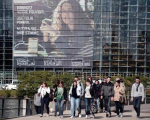 Cartel en Strasbourgo. AFP