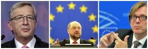 Jean Claude Juncker-EPP Martin Schulz-S&D Guy Verhofstad - ALDE