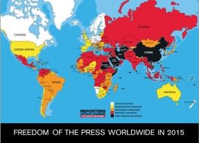Mapa sobre la libertad de prensa 2015 elaborado por Reporteros Sin Fronteras / RSF
