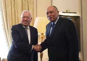 El mandatario egipcio, Abdelfatah Al Sisi, con el ministro español de Exteriores, José Manuel G. Margallo / EFE