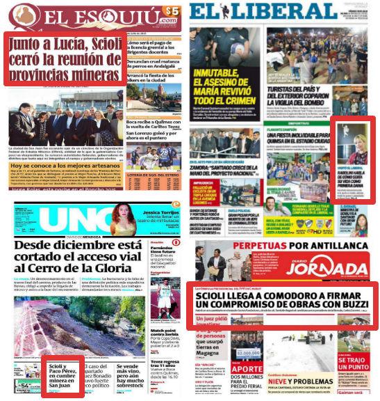 """Un sábado cualquiera, la campaña de """"los Scioli"""" en cuatro diarios provinciales."""