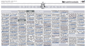 """Sección """"Brides Wanted"""" en el periódico Hindustan Times"""
